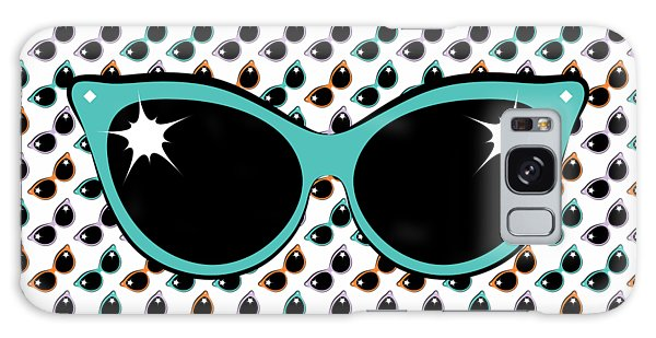 Retro Turquoise Cat Sunglasses Galaxy Case