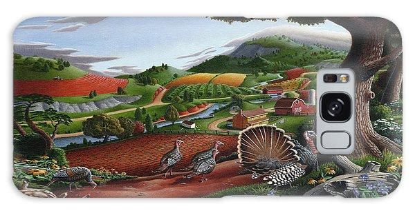 Wild Turkeys Appalachian Thanksgiving Landscape - Childhood Memories - Country Life - Americana Galaxy Case