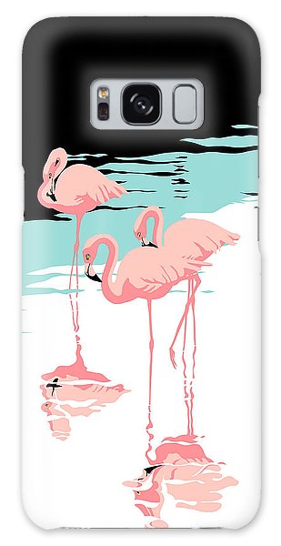 Pink Flamingos Tropical 1980s Abstract Pop Art Nouveau Graphic Art Retro Stylized Florida Print Galaxy Case
