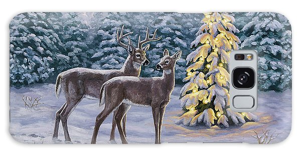 White-tailed Deer Galaxy Case - Whitetail Christmas by Crista Forest