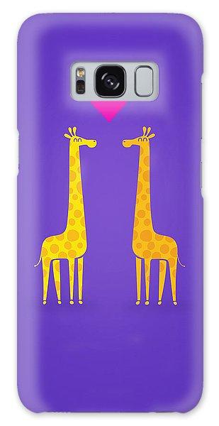 Cute Cartoon Giraffe Couple In Love Purple Edition Galaxy S8 Case