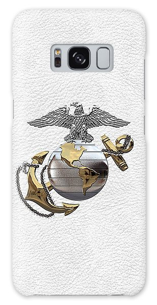 U S M C Eagle Globe And Anchor - C O And Warrant Officer E G A Over White Leather Galaxy Case