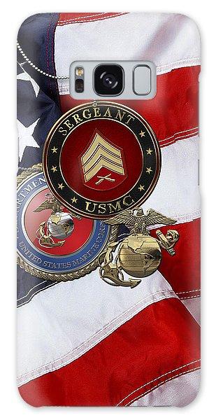 U. S. Marines Sergeant - U S M C Sgt Rank Insignia Over American Flag Galaxy Case