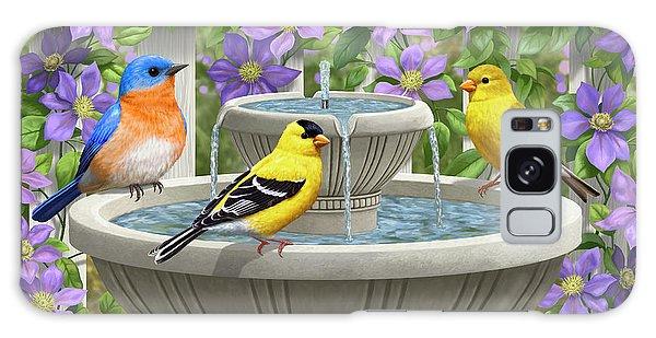 Bluebird Galaxy Case - Fountain Festivities - Birds And Birdbath Painting by Crista Forest