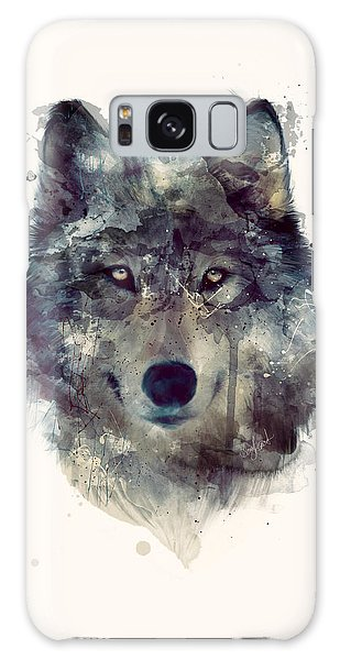 Wolf // Persevere Galaxy Case by Amy Hamilton