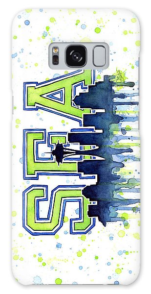 Hawk Galaxy Case - Seattle Watercolor 12th Man Art Painting Space Needle Go Seahawks by Olga Shvartsur