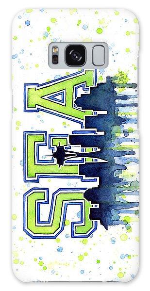 Sport Galaxy Case - Seattle Watercolor 12th Man Art Painting Space Needle Go Seahawks by Olga Shvartsur