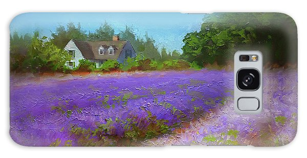 Impressionistic Lavender Field Landscape Plein Air Painting Galaxy Case