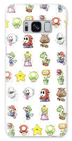 Mushroom Galaxy S8 Case - Mario Characters In Watercolor by Olga Shvartsur