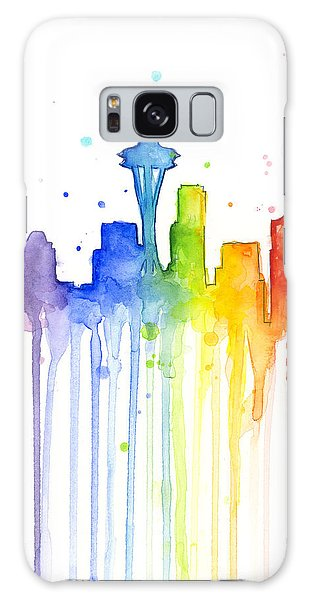 Seattle Skyline Galaxy S8 Case - Seattle Rainbow Watercolor by Olga Shvartsur