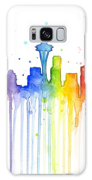 Seattle Rainbow Watercolor Galaxy Case by Olga Shvartsur