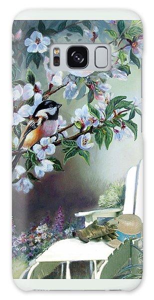 Chickadee Galaxy S8 Case -  Chickadees In Blossom Tree by Regina Femrite