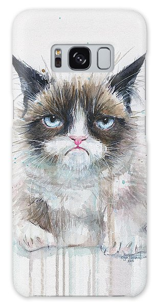Watercolor Pet Portraits Galaxy Case - Grumpy Cat Watercolor Painting  by Olga Shvartsur
