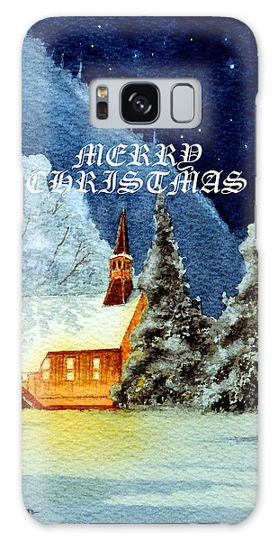 Merry Christmas Card Yosemite Valley Chapel Galaxy Case by Bill Holkham
