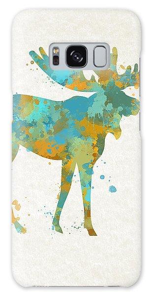 Moose Watercolor Art Galaxy Case