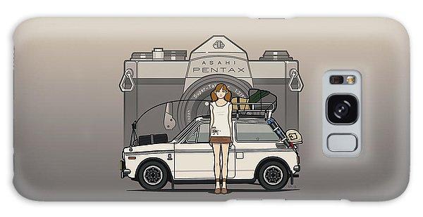 Sixties Galaxy Case - Honda N600 Rally Kei Car With Japanese 60's Asahi Pentax Commercial Girl by Monkey Crisis On Mars