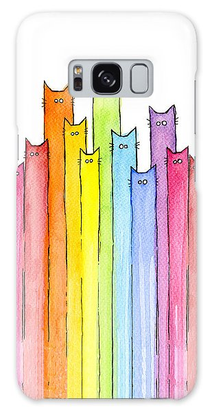 Galaxy Case - Cat Rainbow Watercolor Pattern by Olga Shvartsur