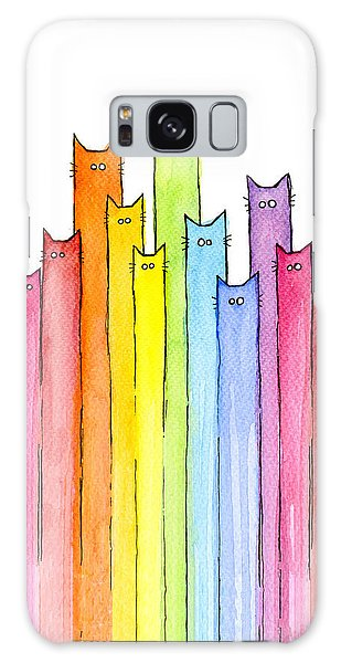 Animal Galaxy Case - Cat Rainbow Watercolor Pattern by Olga Shvartsur
