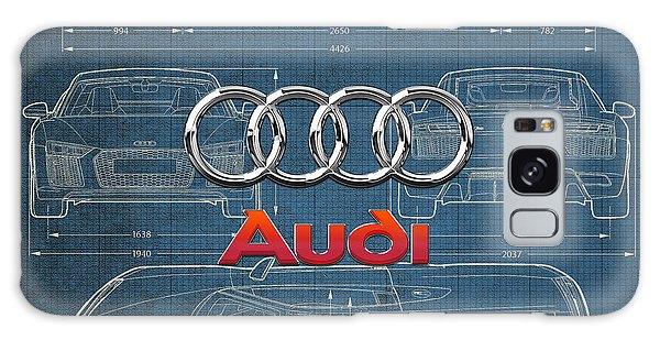Sports Galaxy Case - Audi 3 D Badge Over 2016 Audi R 8 Blueprint by Serge Averbukh