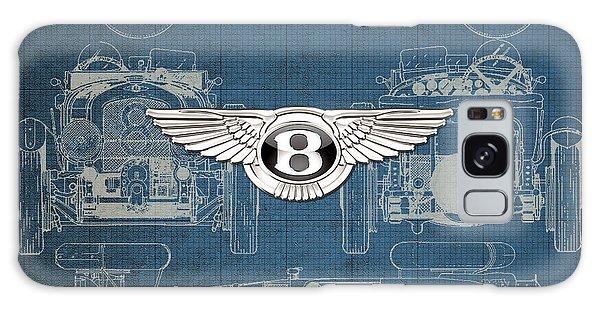 Automotive Galaxy Case - Bentley - 3 D Badge Over 1930 Bentley 4.5 Liter Blower Vintage Blueprint by Serge Averbukh