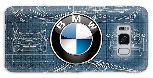 Automotive Galaxy Case - B M W 3 D Badge Over B M W I8 Blueprint  by Serge Averbukh