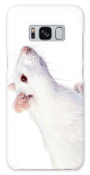 Mice Galaxy S8 Case - White Albino Rat Watercolor by Olga Shvartsur