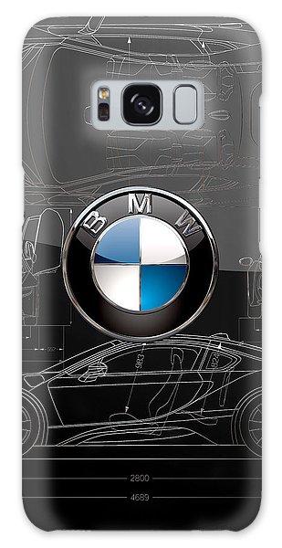 B M W  3 D  Badge Over B M W I8 Silver Blueprint On Black Special Edition Galaxy Case