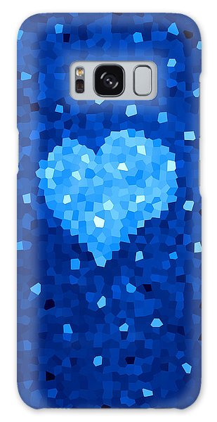 Winter Blue Crystal Heart Galaxy Case