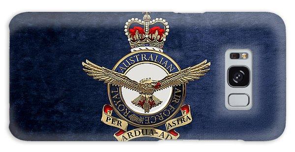 Royal Australian Air Force -  R A A F  Badge Over Blue Velvet Galaxy Case
