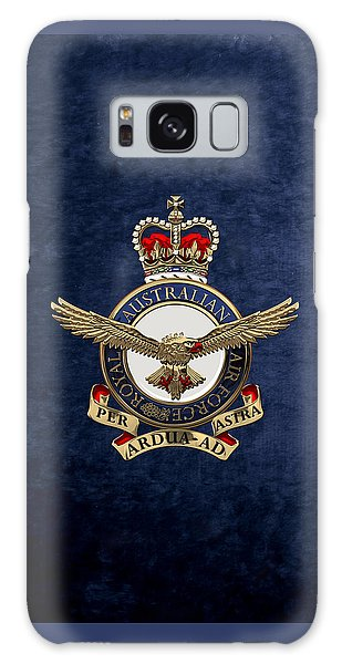 Royal Australian Air Force -  R A A F  Badge Over Blue Velvet Galaxy Case