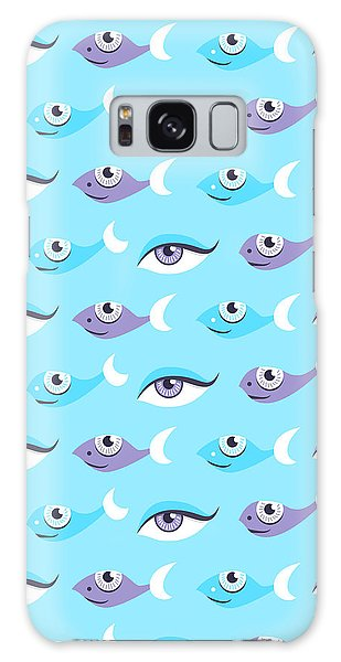 Pattern Of Blue Eyes And Fish In Sea Galaxy Case