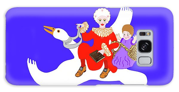 Mother Goose On Her Flying Goose Galaxy Case by Marian Cates