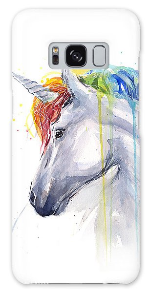 Horse Galaxy Case - Unicorn Rainbow Watercolor by Olga Shvartsur