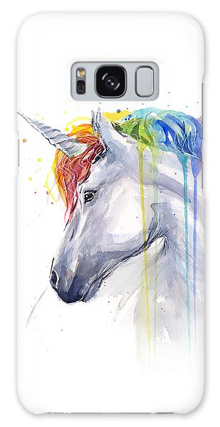 Unicorn Rainbow Watercolor Galaxy Case by Olga Shvartsur