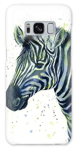 Zebra Galaxy S8 Case - Zebra Watercolor Blue Green  by Olga Shvartsur