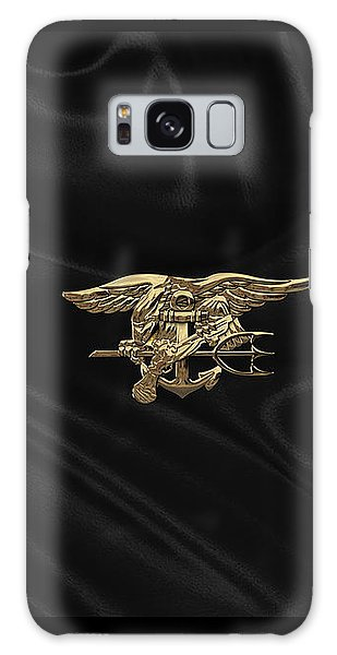 U.s. Navy Seals Trident Over Black Flag Galaxy Case