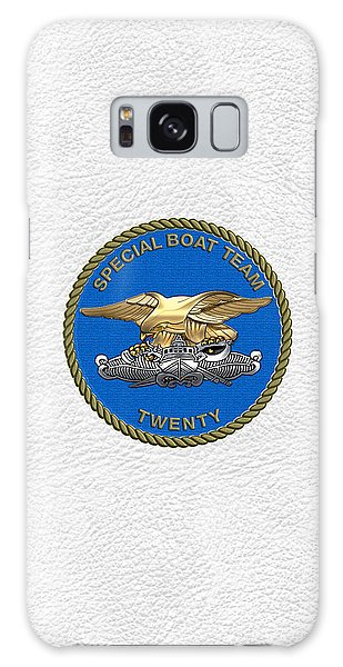 U. S. Navy S W C C - Special Boat Team 20   -  S B T 20   Patch Over White Leather Galaxy Case