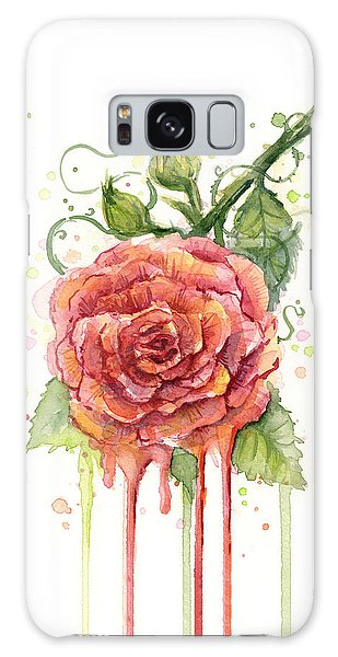 Red Rose Dripping Watercolor  Galaxy Case