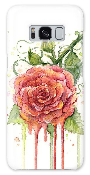 Rose Galaxy Case - Red Rose Dripping Watercolor  by Olga Shvartsur