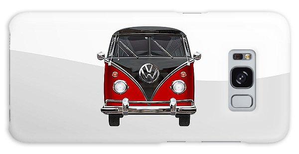 Volkswagen Galaxy Case - Volkswagen Type 2 - Red And Black Volkswagen T 1 Samba Bus On White  by Serge Averbukh