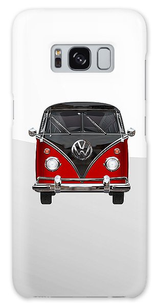 Vw Bus Galaxy Case - Volkswagen Type 2 - Red And Black Volkswagen T 1 Samba Bus On White  by Serge Averbukh