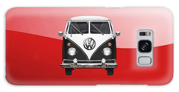 Volkswagen Galaxy Case - Volkswagen Type 2 - Black And White Volkswagen T 1 Samba Bus On Red  by Serge Averbukh