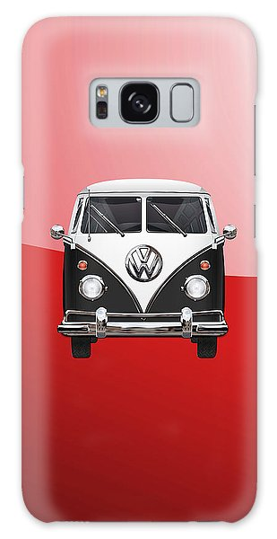 Vw Camper Galaxy Case - Volkswagen Type 2 - Black And White Volkswagen T 1 Samba Bus On Red  by Serge Averbukh