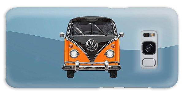 Volkswagen Galaxy Case - Volkswagen Type 2 - Black And Orange Volkswagen T 1 Samba Bus Over Blue by Serge Averbukh