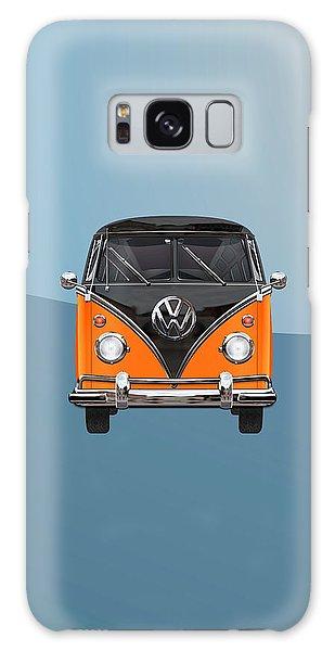 Vw Bus Galaxy Case - Volkswagen Type 2 - Black And Orange Volkswagen T 1 Samba Bus Over Blue by Serge Averbukh