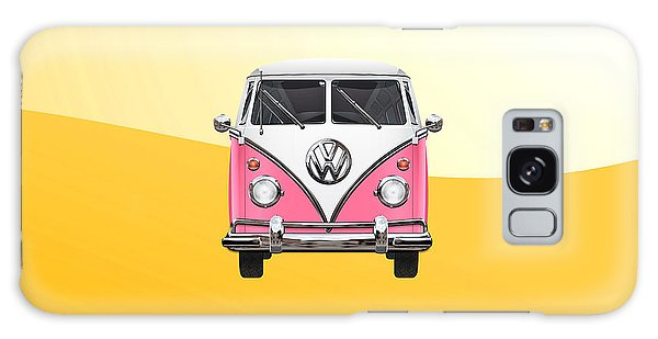 Volkswagen Galaxy Case - Pink And White Volkswagen T 1 Samba Bus On Yellow by Serge Averbukh