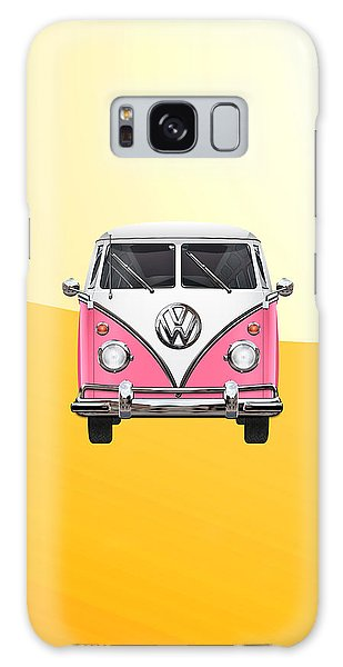 Vw Camper Galaxy Case - Pink And White Volkswagen T 1 Samba Bus On Yellow by Serge Averbukh