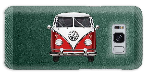 Automotive Galaxy Case - Volkswagen Type 2 - Red And White Volkswagen T 1 Samba Bus Over Green Canvas  by Serge Averbukh
