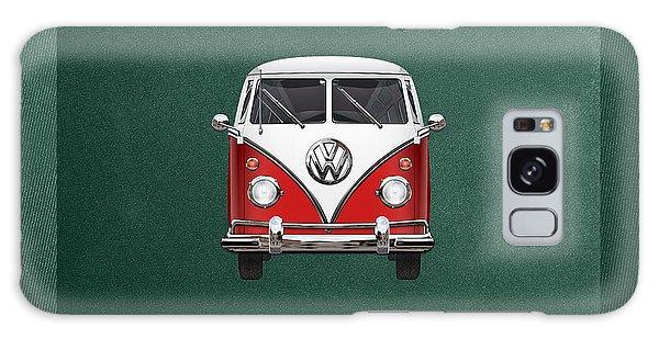 Volkswagen Galaxy Case - Volkswagen Type 2 - Red And White Volkswagen T 1 Samba Bus Over Green Canvas  by Serge Averbukh