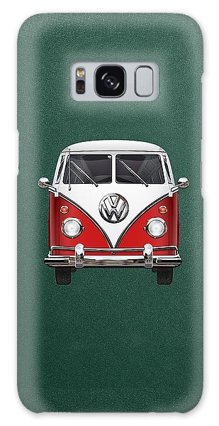 Vw Camper Galaxy Case - Volkswagen Type 2 - Red And White Volkswagen T 1 Samba Bus Over Green Canvas  by Serge Averbukh